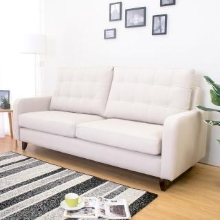 【Bernice】帕得米色貓抓布紋皮沙發三人椅/三人座