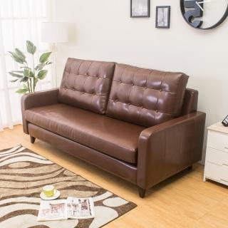 【Bernice】雷尼時尚復古咖啡色皮沙發三人椅/三人座