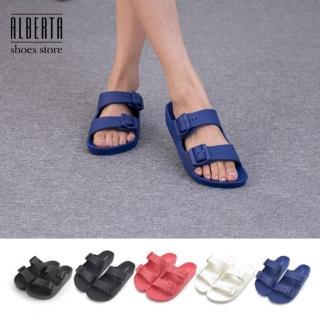 【Alberta】MIT台灣製 室內室外兩用拖鞋 PVC防水雙扣休閒拖鞋 防水拖鞋(藍)