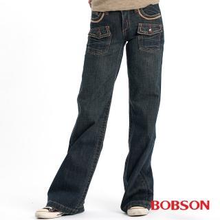 【BOBSON】女款貓鬚大喇叭牛仔褲(藍9039-77)