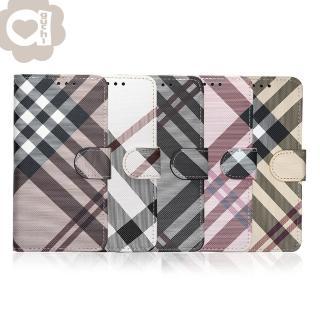 【Apple】iPhone 6 Plus/6s Plus 英倫格紋氣質手機皮套 側掀磁扣支架式皮套 矽膠軟殼(5色可選)