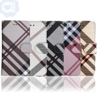 【Samsung Galaxy S7】英倫格紋氣質手機皮套 側掀磁扣式皮套 矽膠軟殼(5色可選)
