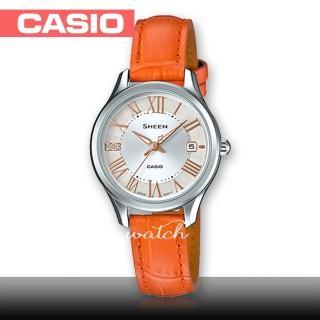 【CASIO 卡西歐 SHEEN 系列】簡約時尚_施華洛世奇水晶_皮革錶帶_指針女錶(SHE-4050L)
