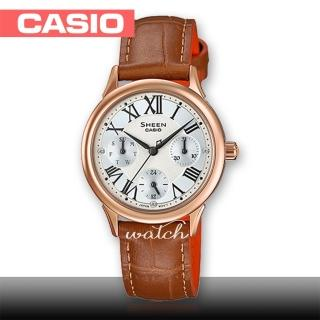 【CASIO 卡西歐 SHEEN 系列】氣質優雅_皮革錶帶_三眼顯示_羅馬數字_指針女錶(SHE-3049PGL)