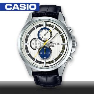 【CASIO 卡西歐 EDIFICE 系列】時尚精選_皮革錶帶_三眼顯示_計時碼表_男錶(EFV-520L)