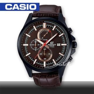 【CASIO 卡西歐 EDIFICE 系列】時尚精選_皮革錶帶_三眼顯示_計時碼表_男錶(EFV-520BL)