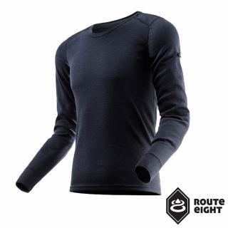 【Route8】男 WARM 圓領保暖衣(黑色)