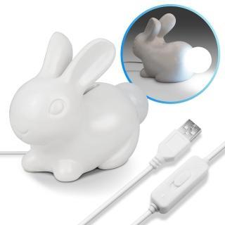 療癒系 USB 小白兔造型存錢筒LED夜燈(恆亮/聲響感應)