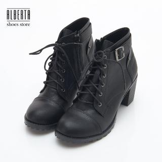 【Alberta】MIT台灣製 歐洲秋冬個性靴款 側拉鍊綁帶 粗中跟6.5cm 短靴 踝靴 裸靴(黑)