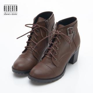 【Alberta】MIT台灣製 歐洲秋冬個性靴款 側拉鍊綁帶 粗中跟6.5cm 短靴 踝靴 裸靴(咖)