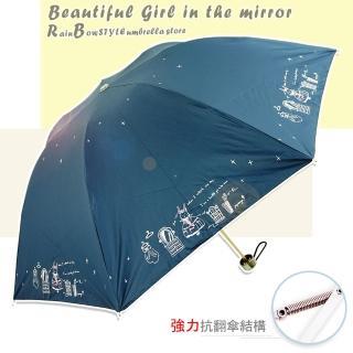 【Rainbow】美夢成真-手開折疊式_防風反向傘(藏青)