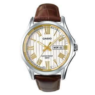 【CASIO 卡西歐】送禮首選_不鏽鋼錶帶_羅馬數字_日期顯示_指針男錶(MTP-E131DY)