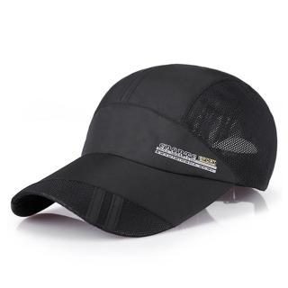【活力揚邑】防曬輕薄涼感吸濕排汗透氣速乾棒球帽鴨舌帽-時尚黑
