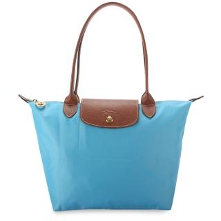 【Longchamp】經典長提把小型尼龍水餃包(天藍色)