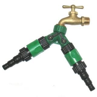 【灑水達人】美規銅製四分水龍頭轉接三種不同規格水管雙通開關球閥