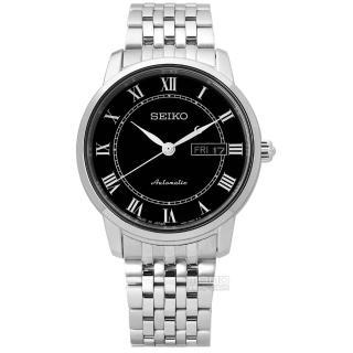 【SEIKO 精工】★贈皮錶帶/現代經典款藍寶石水晶機械不鏽鋼手錶 黑色 39mm(4R36-04E0X.SRP765J1)