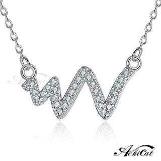 【AchiCat】925純銀項鍊 純銀飾 心動時分 鎖骨鍊 心電圖 CS6023