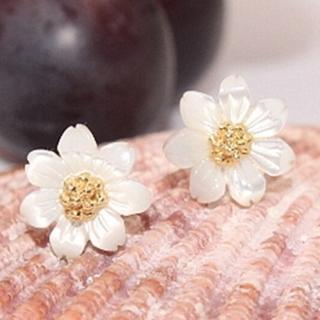 【米蘭精品】耳環流行銀飾品貝殼耳飾(精美花朵時尚母親節生日情人節禮物2色73ag4)