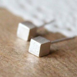 【米蘭精品】耳環流行銀飾品耳針式耳飾(正方形方塊日常簡約百搭母親節生日情人節禮物2款73ag8)