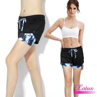 【LOTUS】百搭彈力排汗透氣網布防走光造型運動短褲(冰河藍)