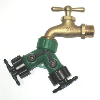 【灑水達人】美規銅製四分水龍頭轉接美規兩分四孔水管雙通開關球閥