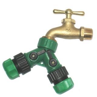 【灑水達人】美規銅製四分水龍頭轉接美規6分水管雙通開關球閥