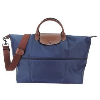【LONGCHAMP】LE PLIAGE 延展夾層手提/斜背旅行袋(深藍)