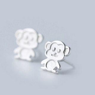 【米蘭精品】耳環流行銀飾品耳針式耳飾(時尚可愛生肖小猴子母親節生日情人節禮物73ag111)