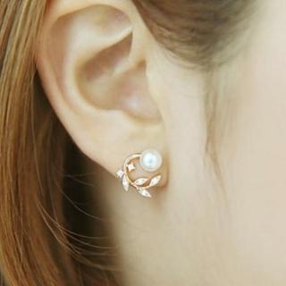 【米蘭精品】耳環流行銀飾品珍珠耳飾(精美鑲鑽時尚母親節生日情人節禮物2色73ag168)