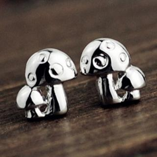 【米蘭精品】耳環流行銀飾品耳針式耳飾(韓版時尚可愛小蘑菇母親節生日情人節禮物73ag210)