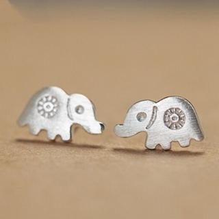 【米蘭精品】耳環流行銀飾品耳針式耳飾(可愛大象時尚俏皮母親節生日情人節禮物73ag257)