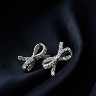 【米蘭精品】耳環流行銀飾品鑲鑽耳飾(甜美蝴蝶結精緻母親節生日情人節禮物73ag285)