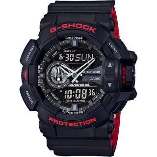 【CASIO】卡西歐 G-SHOCK 特別版重機雙顯錶-黑紅(GA-400HR-1ADR)