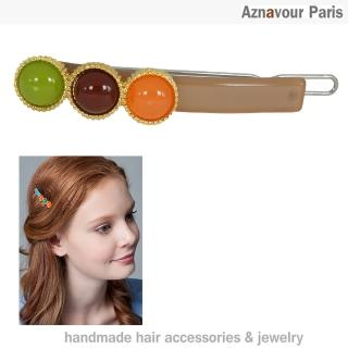 【Aznavour】珠玉玲瓏小扣夾(Brown)
