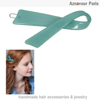 【Aznavour】絲帶造型髮夾(Emerald)