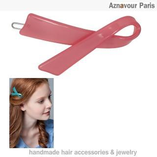 【Aznavour】絲帶造型髮夾(Pink)