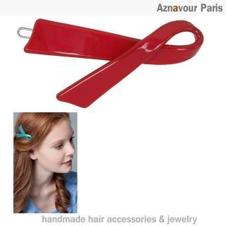【Aznavour】絲帶造型髮夾(Red)