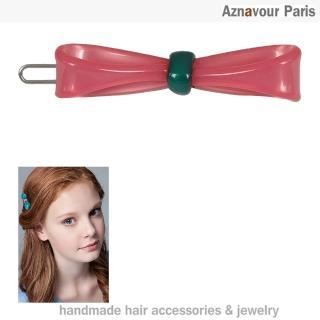 【Aznavour】緞帶蝴蝶結小扣夾(Pink)