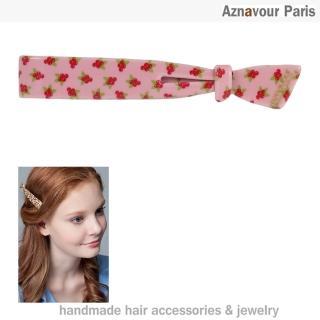 【Aznavour】緞帶造型長扣夾(Cherry)