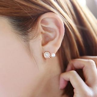 【米蘭精品】耳環流行銀飾品珍珠耳飾(精緻鑲鑽流行母親節生日情人節禮物3色73ag289)