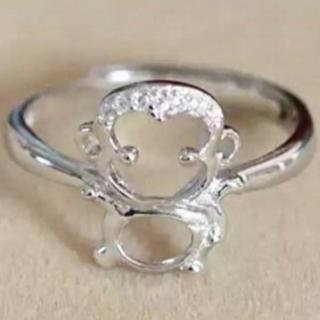 【米蘭精品】戒指鑲鑽流行銀飾品(小猴子造型可愛迷人流行母親節生日情人節禮物73ae52)