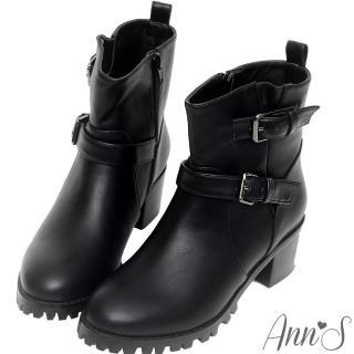 【Ann'S】韓國軍裝風率性雙釦帶工程短靴(黑)