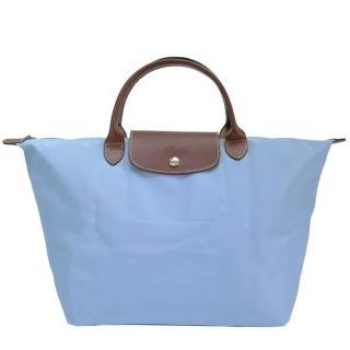 【LONGCHAMP】Le-Pliage 短把摺疊水餃包(中/淺藍)