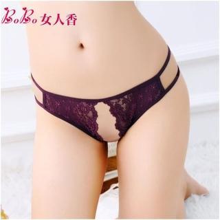 【BoBo女人香】細緻刺繡蕾絲前開檔情趣內褲-低腰丁字褲-C230-5(墨紫)