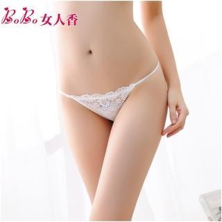【BoBo女人香】法式典雅刺繡蕾絲性感內褲-低腰丁字褲-C231-5(婚紗白)