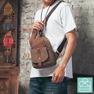 【89.Alley】斜胸包 帆布配真皮系列 防盜扣環輕便款 男女適用(4色)