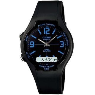 【CASIO】商務型酷炫雙顯指針錶(AW-90H-2B)