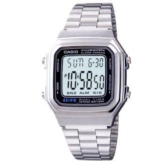 【CASIO】復古銀方形經典電子錶(A-178WA-1)