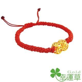 【幸運草clover gold】八方聚財 水晶+黃金 紅繩手環