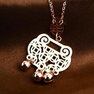 【米蘭精品】玫瑰金項鍊吊墜子(鏤空銅錢鈴鐺如意流行飾品情人節生日禮物71x11)